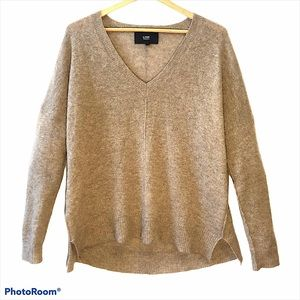 LINE Oatmeal Cashmere V Neck Sweater Small